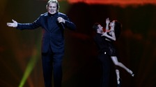 Engelbert rehearsing in Baku before the live 2012 Eurovision performance