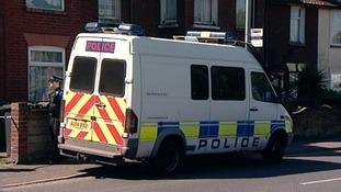 Police van at house in St Nicholas Road
