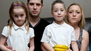 Jamie Roberts, 31, and wife Crystal, 30, with their children Georgina, seven, and Joshua, five