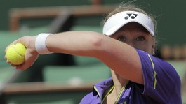 Britain's Elena Baltacha is knocked out of French Open tennis tournament.