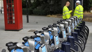 A Barclays cycle hire docking station