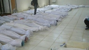 Anti-government protesters claim these are the bodies of protesters killed by government forces