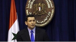 Syria's foreign ministry spokesman Jihad Makdissi at a news conference in Damascus today