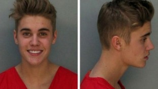 Justin Bieber's mugshot after being arrested on DUI charges in Miami.