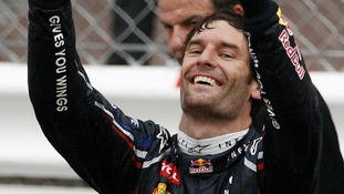 Red Bull driver Mark Webber, of Australia, celebrates after winning the Monaco Formula One Grand Prix at the Monaco racetrack, in Monaco