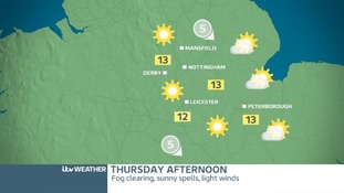 Thursday Afternoon East Midlands: Dry and sunny afternoon