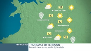 Thursday Afternoon West Midlands: Fog will lift
