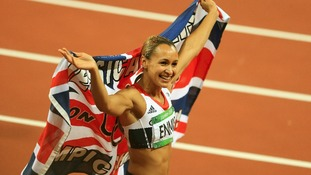 The then-Jessica Ennis celebrates her gold medal win at the London 2012 Olympic Games.