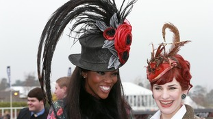 Eliza Cook from Mumbles and Lystra Adams from Staffordshire (left) go big with their hats.