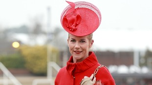 Lady in red Mary Carty from Kells, Co Meath on Ladies Day.