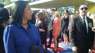 Nina Nannar on the red carpet waiting to speak to Ricky Gervais