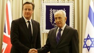 Prime Minister David Cameron and Israeli President Shimon Peres.