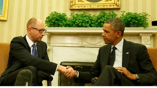 Ukrainian Prime Minister Arseniy Yatsenyuk and US President Barack Obama in the Oval Office.