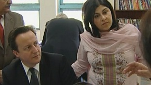 Baroness Warsi with David Cameron