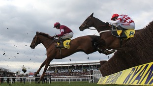 First Lieutenant and Riverside Theatre jump the fence during the Ryanair Chase, on St Patrick's Thursday 2013.
