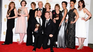 The cast of Coronation Street with their BAFTA Awards