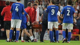 Gordon Ramsay taken away for medical treatment during the match at Old Trafford