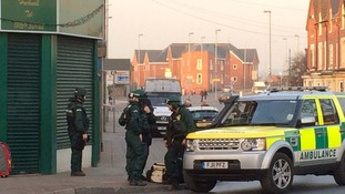 Team of medics in body armour on Hucknall High Street in Nottinghamshire.