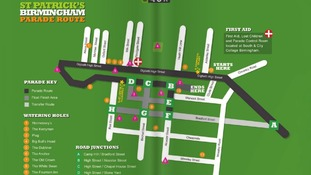The St Patrick's Day Parade route