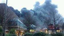 Around 50 firefighters are at the blaze by Assembly Rooms in Derby