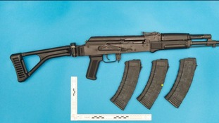 An assault rifle uncovered at the home