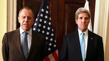 Russian Foreign Minister Sergei Lavrov with US Secretary of State John Kerry.