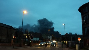 Images of the fire at a concert venue in Derby