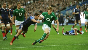 reland's Andrew Trimble dives in to score his side's second try during the Six Nations.