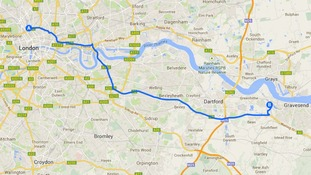 A map showing the journey from Ebbsfleet to St Pancras