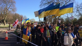Protesters marched to the Russian Embassy in London