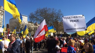 Protest coincides with referendum in Crimea