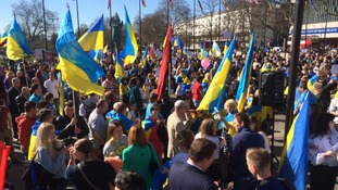 Ukrainian community demonstrate against Russian interference in Ukraine