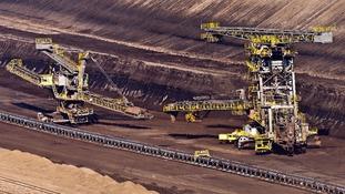 The strip mine is pictured in Jaenschwalde, Germany