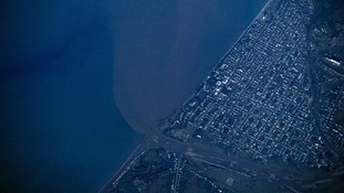 Black Sea, Aerial view over polluted waters.
