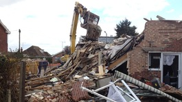 Clear-up at gas explosion site