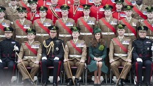 Kate and Wills with the Guards