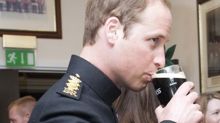 William takes a sip of Guinness on St Patrick's Day