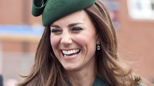 The Duchess of Cambridge smiles during the visit to Mons Barracks.