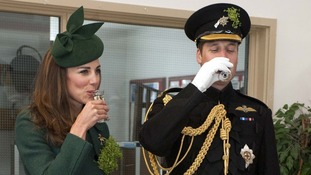 The Duchess and Duke take a drink to celebrate St Patrick's Day.