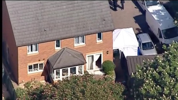 Aerial view of the Ding family home after the murders