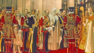 The Queen is pictured on the far left of this painting of the arrival of King George V's at a St Paul's Silver Jubilee service in 1935