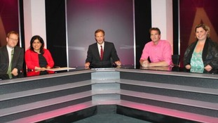 Tom Bradby with tonight's panellists on The Agenda.