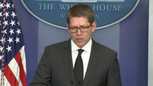White House Press Secretary Jay Carney speaking at the press briefing today.