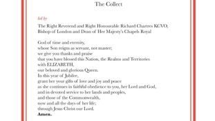 The Collect will be led by the Bishop of London, Richard Chartres