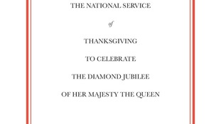 Front cover of the order of service for the National Service of Thanksgiving