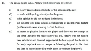 Pardew's decision to make a quick apology helped reduce his ban