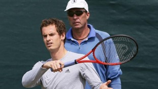 Andy Murray of Britain trains, with his coach Ivan Lendl
