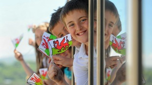Olympic torch travelling through Wales