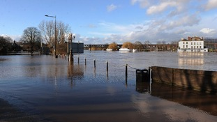 Hylton Road in Worcester at the height of the floods last month