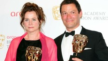 Emily Watson and Dominic West with Baftas